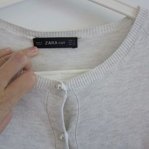 Zara White Silver Pearl Button Cardigan S